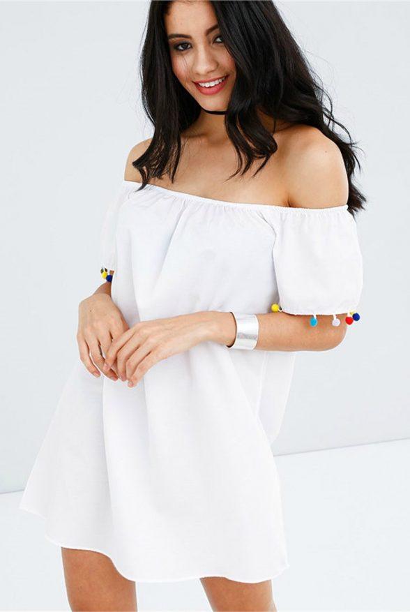 kolu-renkli-ponponlu-beyaz-elbise-2639.1