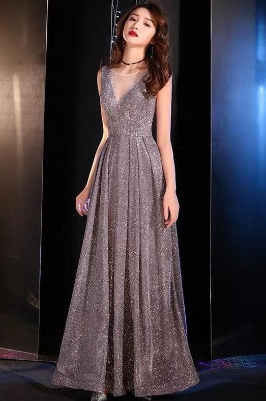 rochie lunga titiana argintie.1