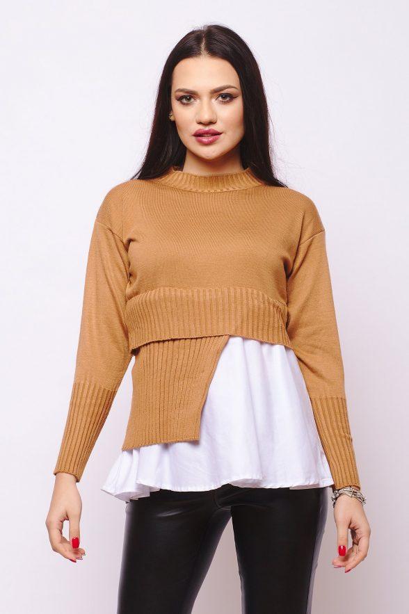 pulover model deosebit partial camasa artisa crem 1