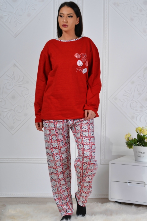 Pijama formata din bluza rosie si pantalon alb cu model Fathia 2