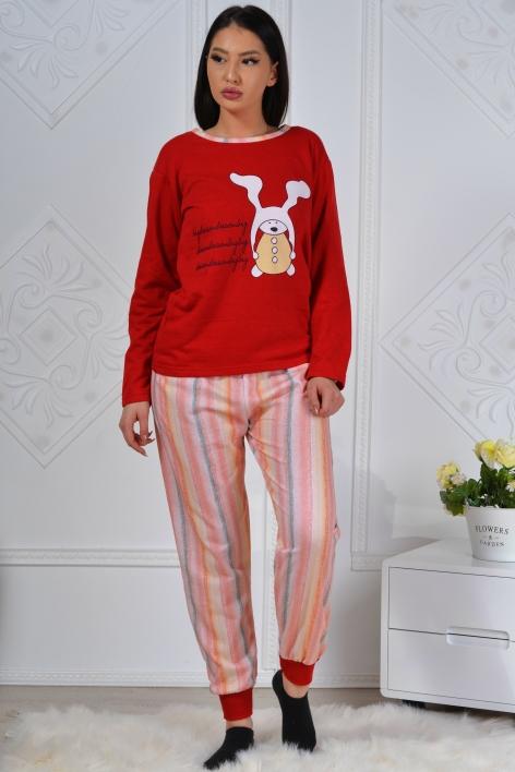 Pijama formata din bluza rosie si pantalon multicolori Sandia 2