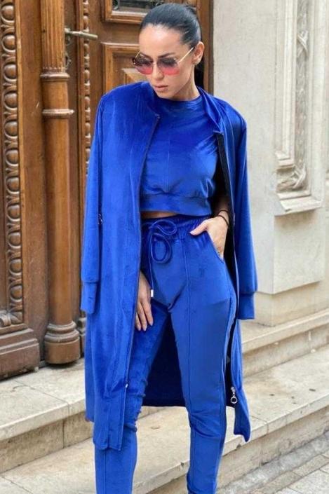 compleu format din bustiera pantalon si cardigan zindra albastru