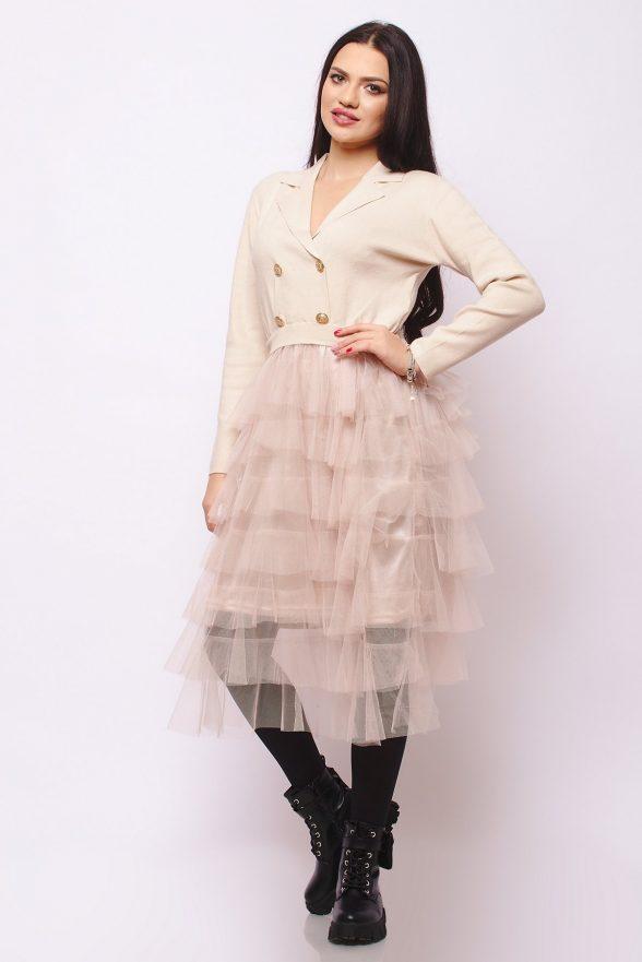 rochie model deosebit stil sacou cu nasturi si fusta din dantela zoela bej 1