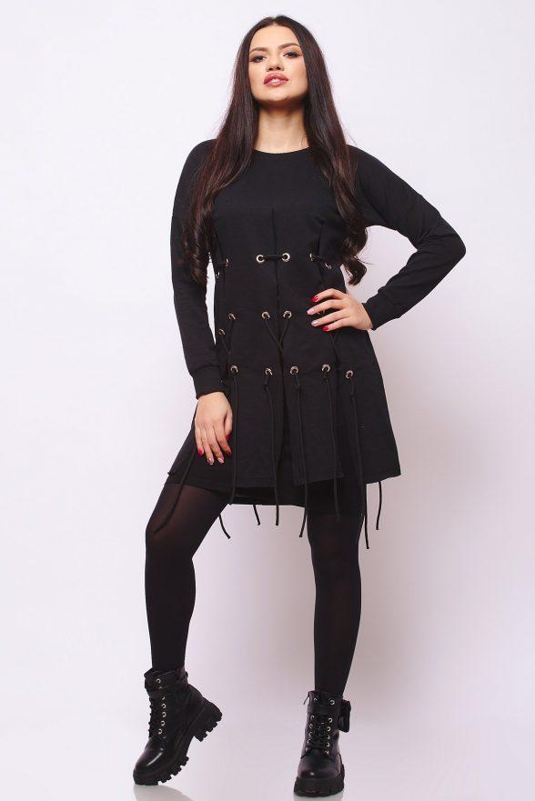 rochie neagra despicata verticat cu jupa si snururi simina neagra 1