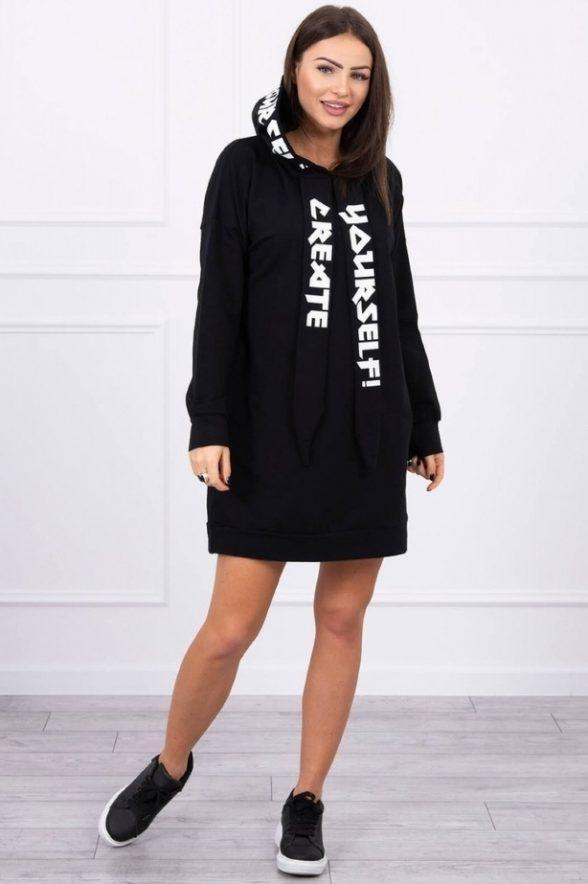 rochie oversize cu buzunare si gluza sefira negru cu scris alb 3