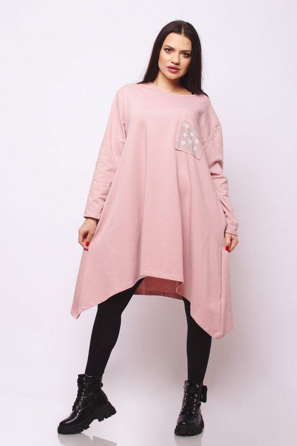 rochie oversize in colturi cu buzunar cu pietricele adnana roz 1