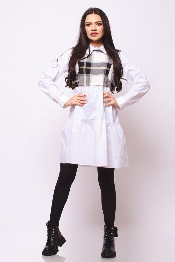 rochie scurta stil camasa cu insertie de pulover in patratele agata alba 1