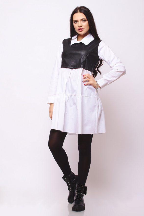 rochie stil camasa agnesa alba cu insertie de piele ecologica neagra 1