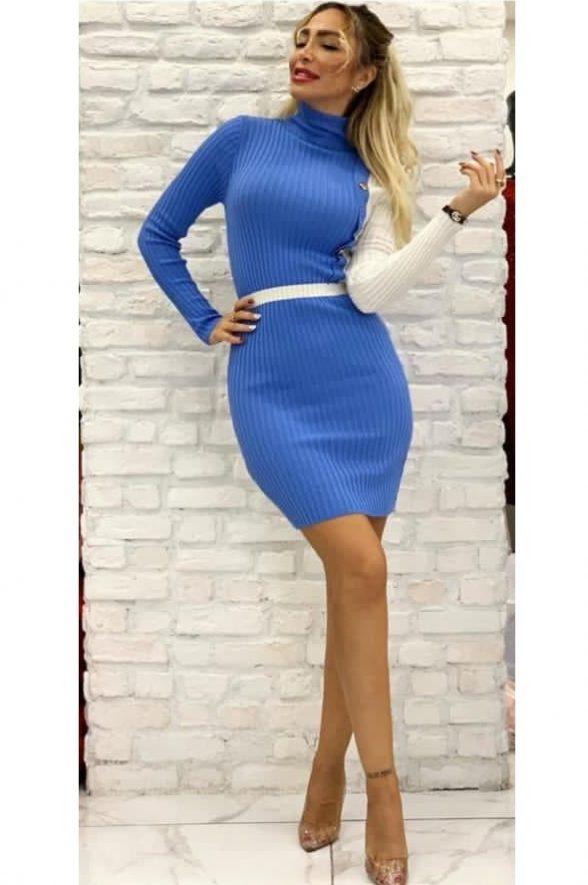 rochie tricotata in 2 culori cu nasturi sonia bleu cu alb 1