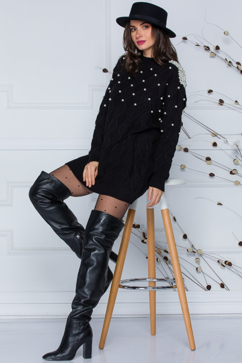 rochie tricotata perle la umeri malese neagra 5