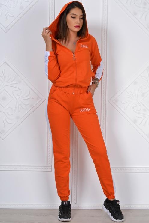 trening format din bluza cu fermoar si pantalon cu scris alb olavoga breisy portocaliu 1