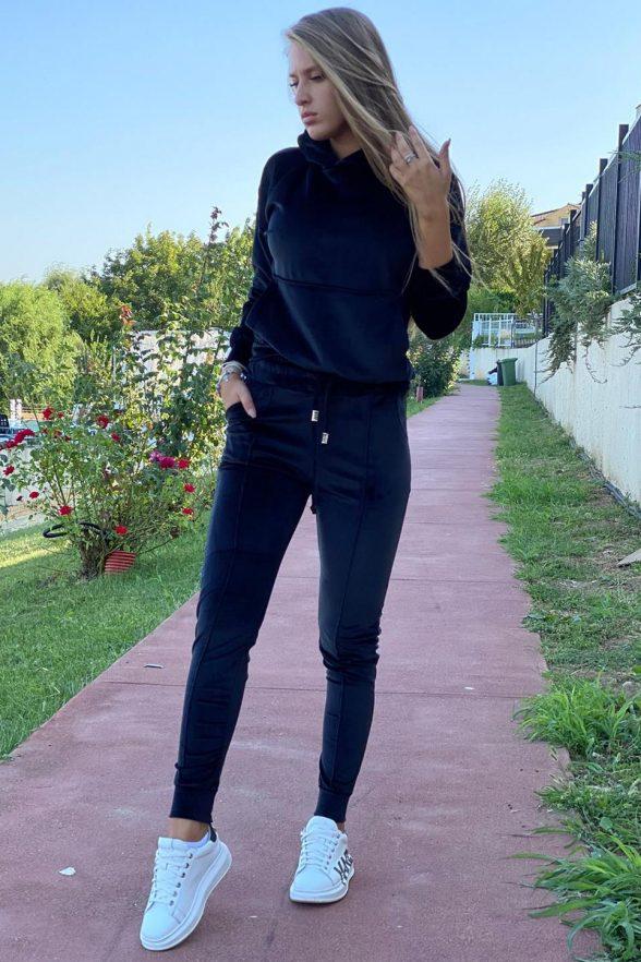 compleu din catifea moale format din bluza cu fermoar pe spate si pantalon sebrina negru 4